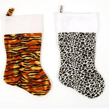 Felt Animal Print Christmas Stocking - 36 Units