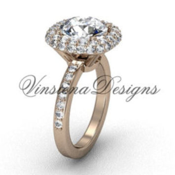 14kt rose gold engagement ring,Black Diamond  VD870
