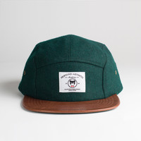 The League Veteran Wool Five Panel Hat in Forest