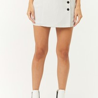 Button-Down Pinstriped Mini Skirt