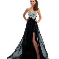 Mac Duggal Prom 2013 - Strapless Black & Silver Gown With Rhinestone Embellishments - Unique Vintage - Prom dresses, retro dresses, retro swimsuits.