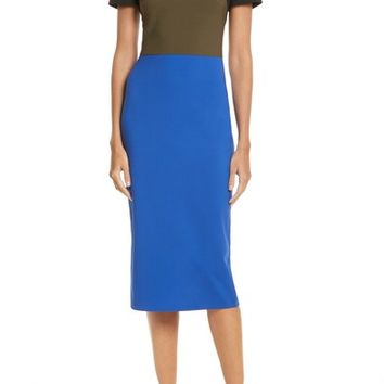 Diane von Furstenberg Colorblock Tailored Midi Dress | Nordstrom