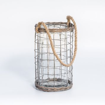 LARGE WIRED GLASS LANTERN WITH ROPE HANDLE