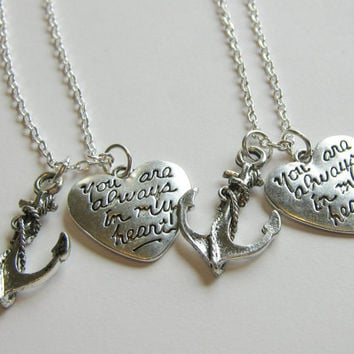 2 Anchor You Are Always In My Heart Best Friends BFF Sisters Couples Necklaces