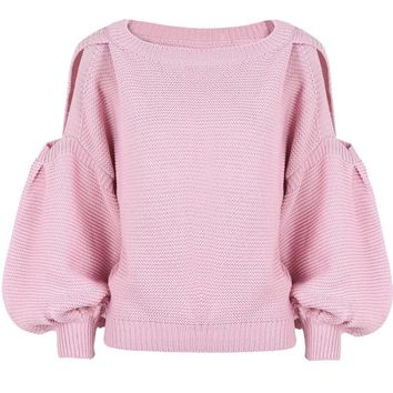 SW96 Celebrity Style Women Cut Out Shoulder Puffy Sleeve Crop Knitted Sweater Jumper Tops Pullover Knitwear 2019