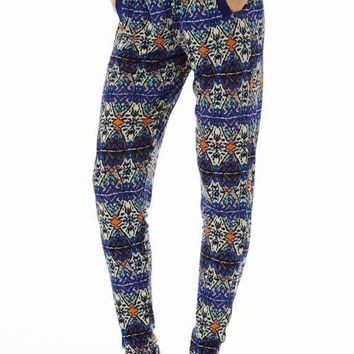Blue  Printed 2 Pocket straight Bottom Pants