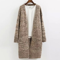 Colorful Wire Pockets Loose Sweater Outerwear