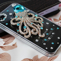 Iphone 4 cases,iphone 4s cases,iphone cases-transparent bling   octopus iphone 4 covers ,accept custom order for HTC ,Samsung