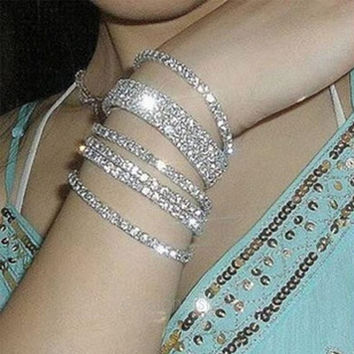 Crystal Rhinestone Wedding Bridal Bangle Bracelet Wristband Brand New = 1932338180