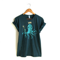 King Octopus  Hand STENCILED Deep Scoop Neck by twostringjane