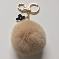 Beige fur pom pom keychain REX Rabbit fur pom pom ball with flower bag charm