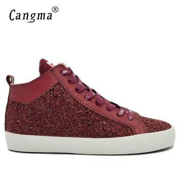 CANGMA Original Fashion Man Sequined Wine Red Casual Shoes Men Sneakers Glitter Flats Male Lace Up Shoes Mid Breathable Footwear