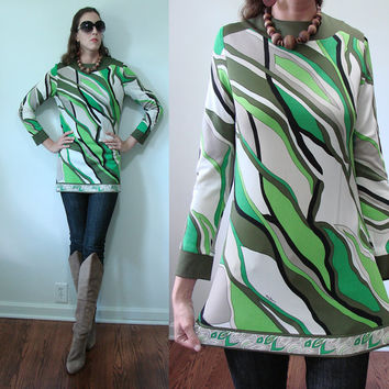 Vintage 1960s ULTRA MOD Mr. Dino Green & Black Abstract Blouse Small Paris