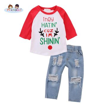 Kids Baby Boy Clothes Set Long Sleeve Letters Printed T-shirt Top Ripped Hole Jean Pant Fashion 2PCS Outfit