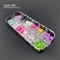 Hot Sale 12 Colors Mix Beautiful 3D Nail Art Wrinkles Bow Nail Diy Decorations
