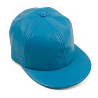 Blue Six Panel Leather Cap