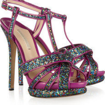 Nicholas Kirkwood | Glitter and patent-leather sandals | NET-A-PORTER.COM