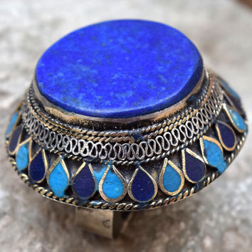 Big Afghan Kuchi Ring,Tribal Ring,Blue Lapis Stone,2,Two Finger Ethnic Ring,Afghan Jewelry,Dome,Gypsy Ring,Boho Ring,Bohemian Hippie Ring
