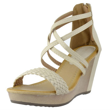 Womens Platform Sandals Weaved Strappy High Wedge Shoes Beige