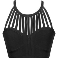 Black Fringe Cutout Bandage Crop Top