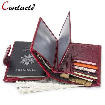 CONTACT'S Passport Cover Women's genuine leather purse business card holder wallet women wallet female small coin purse clutch