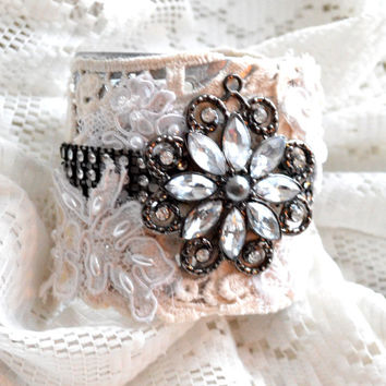 Bohemian cuff, Gypsy cowgirl bracelet, Shabby lace jewelry, Romantic cottage chic jewelry, Christmas gifts for her, True rebel clothing
