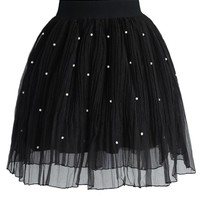 Pearly Stars Tulle Skirt in Black