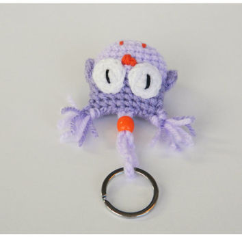 Purple Keychain Amigurumi Toy Key Holder Cute Keychains Cool Girl Car Accessories Women Key Ring Owl Lover Gifts Crochet Owls Stuffed Soft