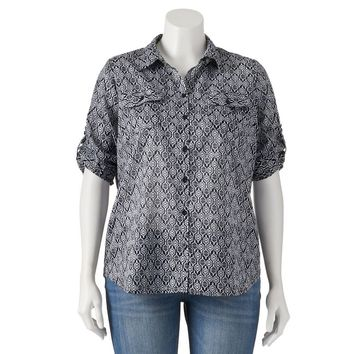 Croft & Barrow Printed Roll-Tab Shirt - Women's Plus Size, Size: