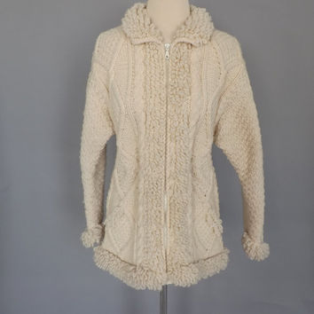 Vintage 1970s Cream Cable Knit Sweater Jacket Irish Wool Cardigan Fall Southwestern Sweater Coat  Boho Hippie Women Woodland 70s Jacket