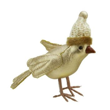 ONETOW 5' Gold Bird Wearing Knitted Winter Hat Christmas Ornament
