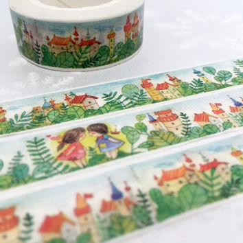 fairytale village washi masking tape 10M Forest tree fairy tale kids kid Couple twin friends forever sticker tape planner scrapbook gift