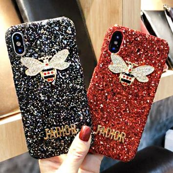 DIOR New fashion letter diamond bee couple phone case