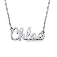 Personalized Cursive Name Necklace in Silver