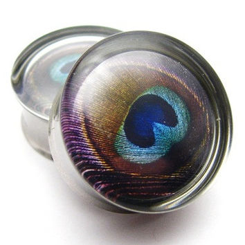 Peacock Feather Plugs- 1 Pair (2 plugs) - 0g, 00g, 7/16, 1/2, 9/16, 5/8, 3/4, 7/8, 1 inch