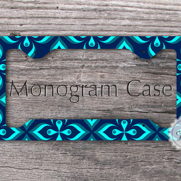 Retro License plate frame - Navy Blue,  neon blue and teal pattern car tag frame , peronalized gift
