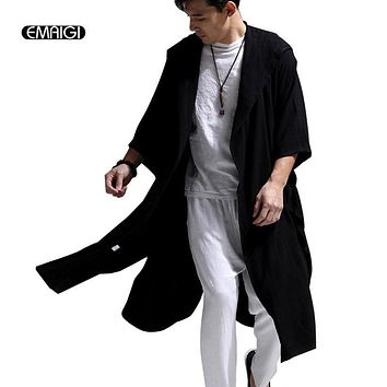 White Blue Black High Quality Cotton Linen Men Women Trench Coat Male Hooded Cloak Long Windbreaker Cardigan Trench Jacket