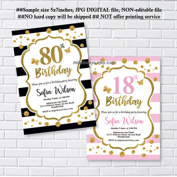 Elegant birthday invitation, glitter elegant invite, birthday , any age 30th 40th 50th 60th 70th 80th 90th invitation - card 1233