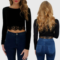 Fashion Women Lace Bodycon Shirt Long Sleeve Short Crop Top Sexy Party Tops = 1956706436