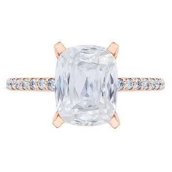 Criss Cut Cushion Heirloom Moissanite 4 Prongs Diamond Accent Ice Solitaire Ring