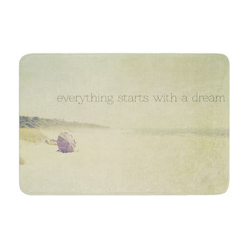 """Ingrid Beddoes """"Everything Starts With A Dream"""" Beach Quote Memory Foam Bath Mat"""