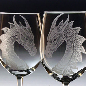 Wedding Wine glasses - Dragons