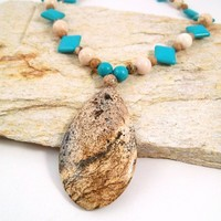 Turquoise Magnesite and Grain Stone Necklace