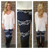 Black & White Snowflake Fur Leggings