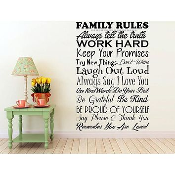 Family Rules Vinyl Wall Sayings Quote