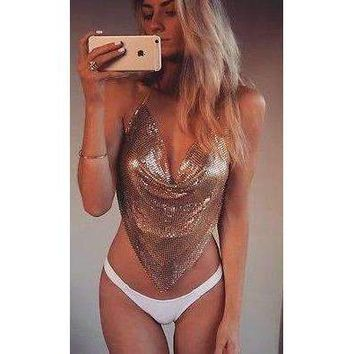 Spicy Sequin Halter Crop Top