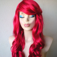Ariel hair inspired wig. Red  wig. Long red wig. Curly wig. Red curly wig. Lolita wig.  Fantasy red wig. Color wig.