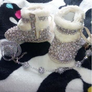 CREY1O Baby Bling Newborn Infant Girl Uggs Muks Booties Shoes