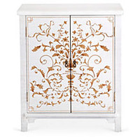 Gwen Storage Cabinet, Antique White/Gold