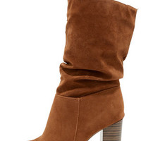 OK to Slouch Tan Suede High Heel Mid-Calf Boots